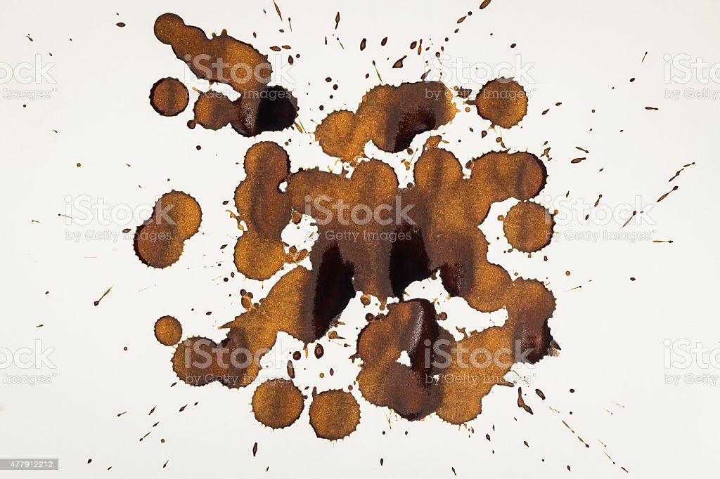 Coffee Stain Set, Isolated On White Background stock photo