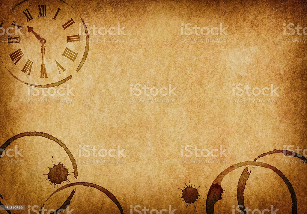 Coffee Stains & Clock Vellum Parchment Background stock photo