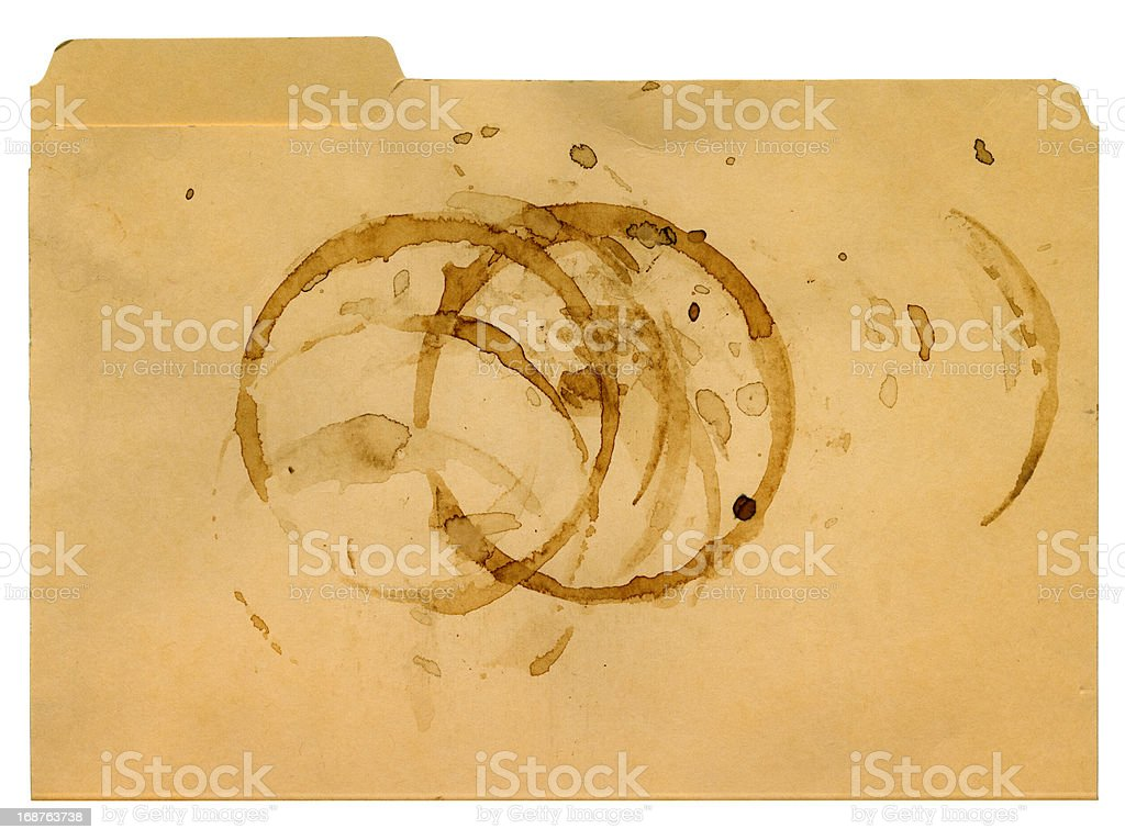Coffee Stains on a File Folder stock photo