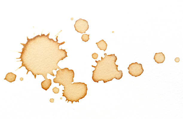 coffee stains on white paper - vlek stockfoto's en -beelden