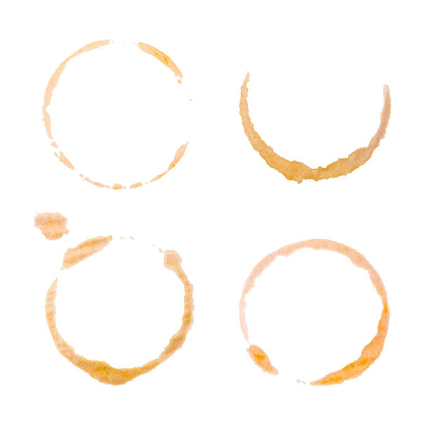 Coffee stains or bottom cup print collection. stock photo
