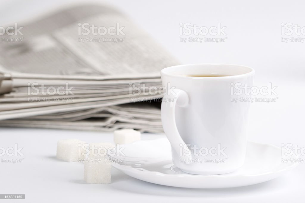 coffee, sugar and newspapers royalty-free stock photo