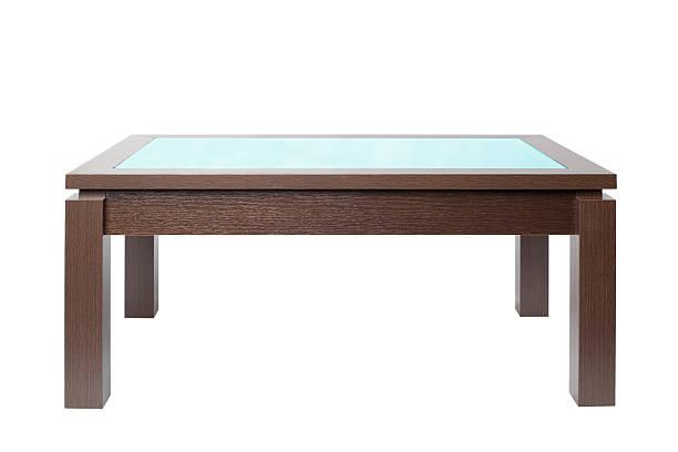 mesa de café em madeira escura - coffee table imagens e fotografias de stock