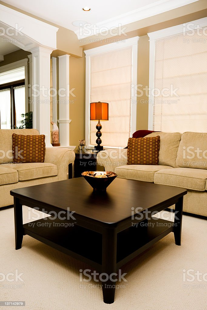 Coffee Table in Family Room of New Home stock photo