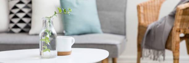 coffee table in scandinavian style - coffee table imagens e fotografias de stock