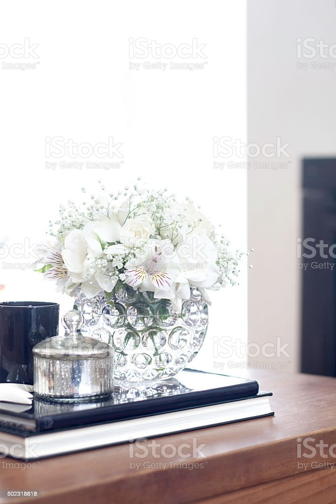 Coffee Table Living Room Decoration With White Flowers Royalty Free Stock  Photo
