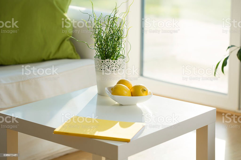 Coffee table stock photo