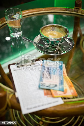 istock coffee table with a cup of cappuccino 667293600