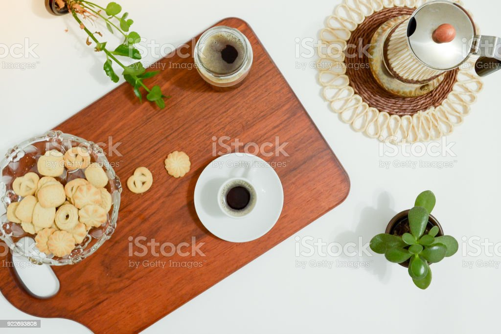 Coffee table with biscuits