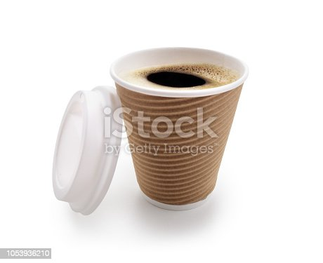 istock Coffee take out disposable cup isolated on white 1053936210