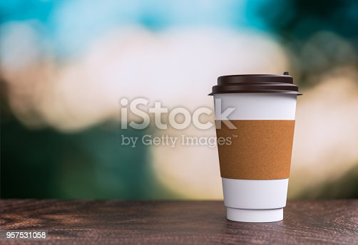 coffee takeaway on the table - bokeh background - 3d illustration rendering
