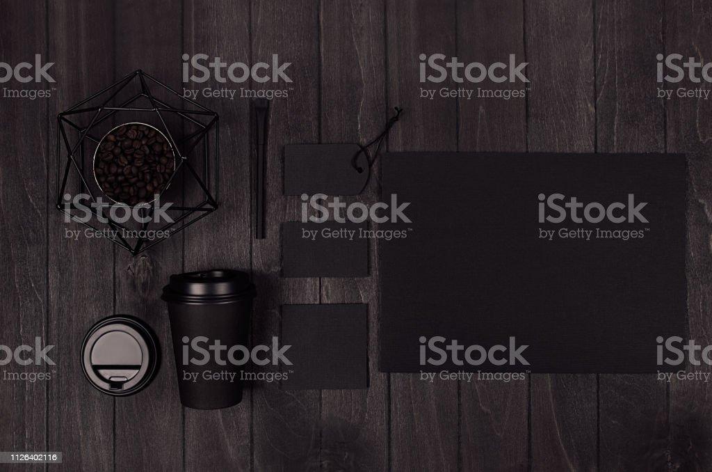 Coffee takeaway set mockup for brand - black paper cup, blank paper,...