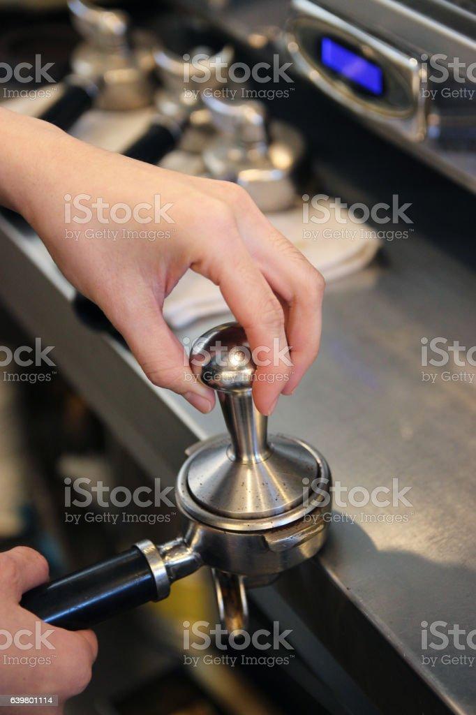Coffee temp by barista stock photo