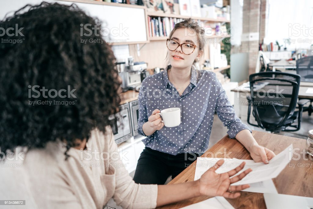 Coffee time and friends talk stock photo
