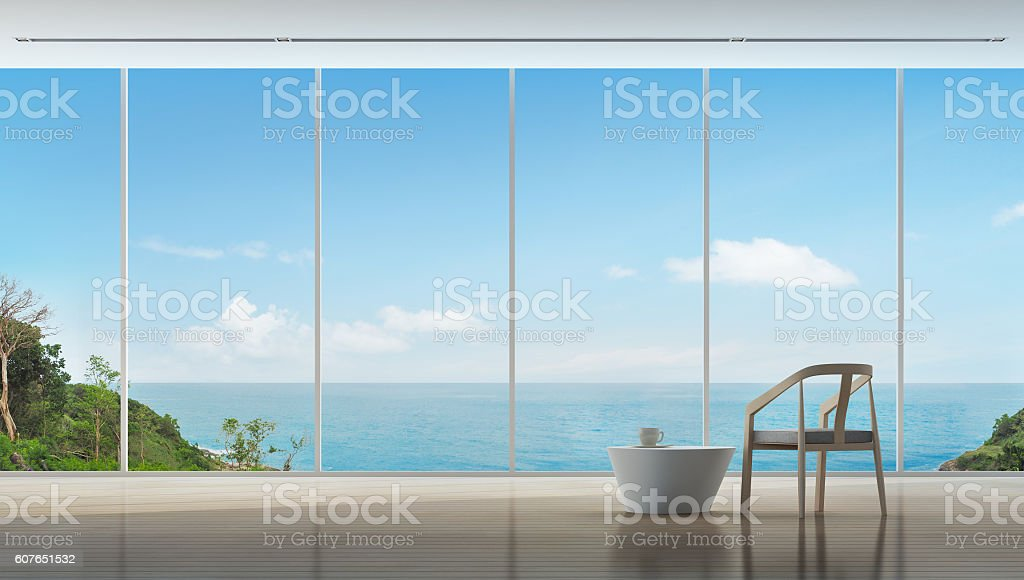 Coffee time in luxury sea view interior of modern home stock