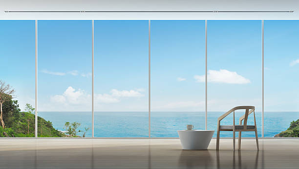 Coffee time in luxury sea view interior of modern home - foto de acervo