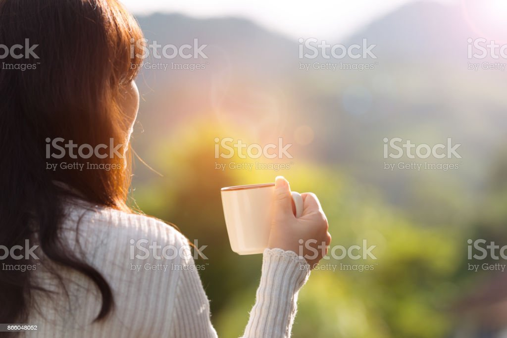 Coffee time on the mountain, rear view. royalty-free stock photo