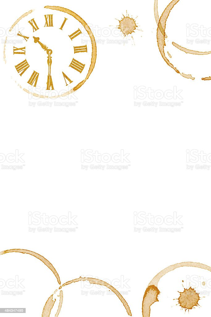 Coffee Time Ring Stains and Clock Face stock photo
