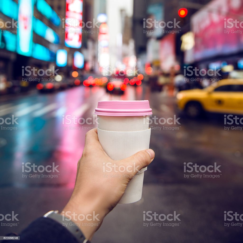 Coffee to go in the city stock photo