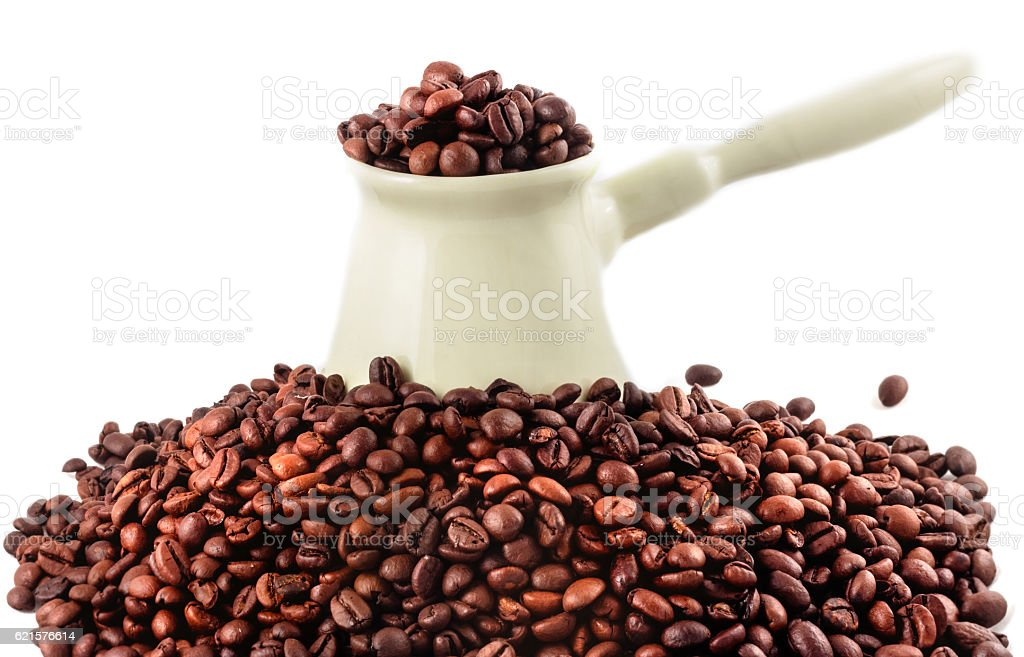 Coffee turk and coffee beans photo libre de droits