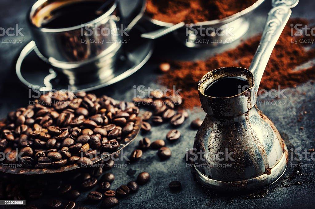 Coffee. Turkish coffee. Armenian Turkish coffee. Cezve and cup of...
