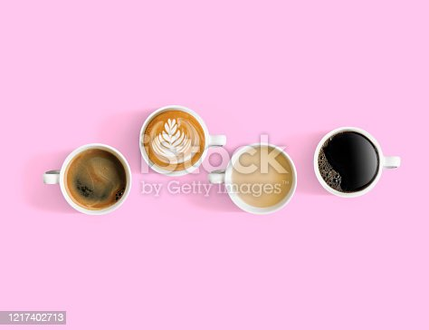 Overlooking coffee cups with different types of coffee