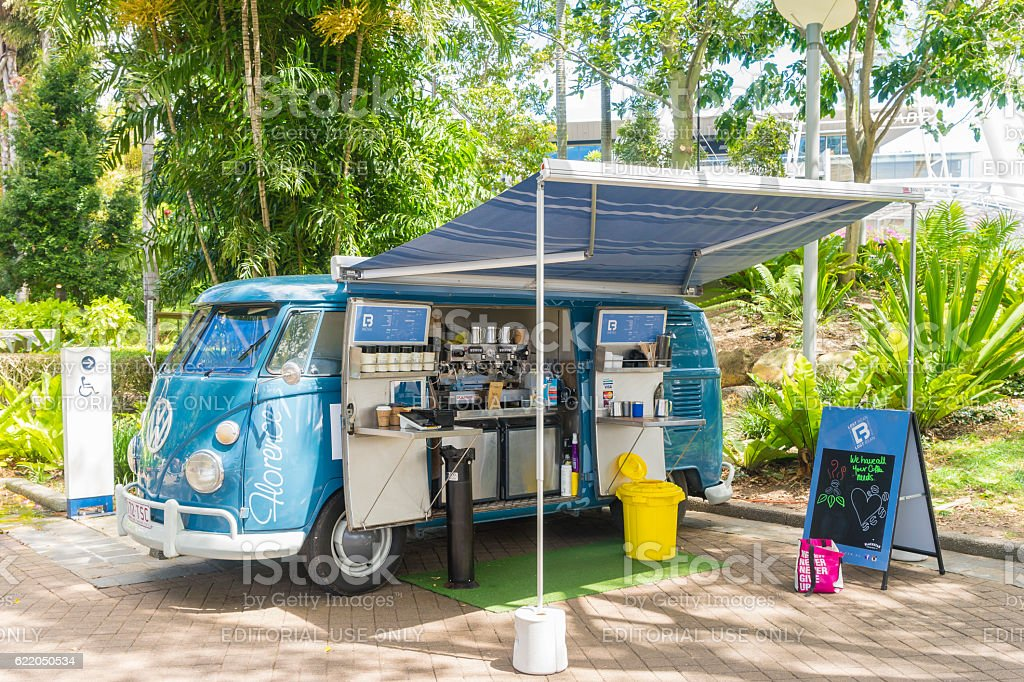 Coffee van in South Bank Parklands, Brisbane stock photo