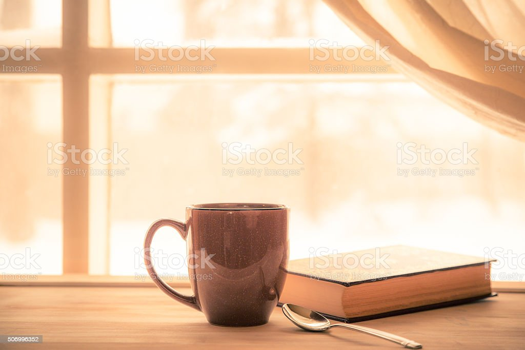 Coffee Window Book stock photo