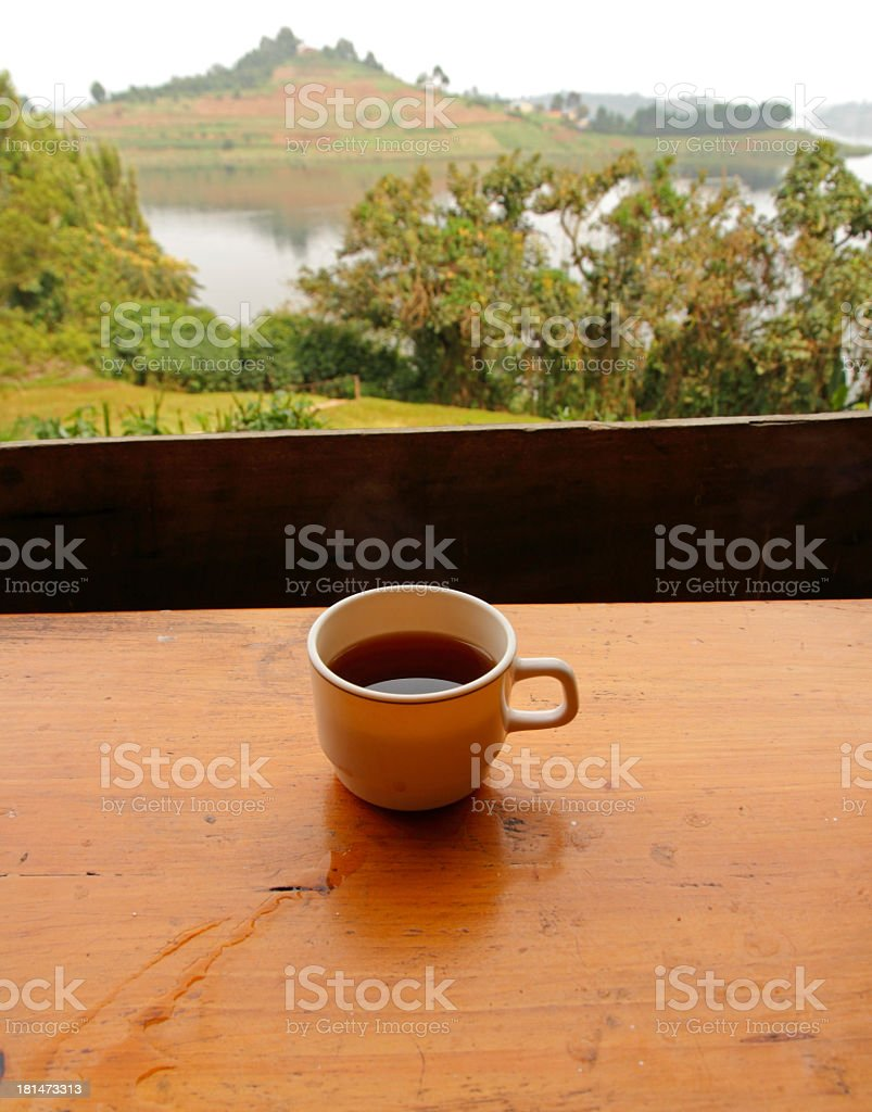 Coffee with a Lake View royalty-free stock photo