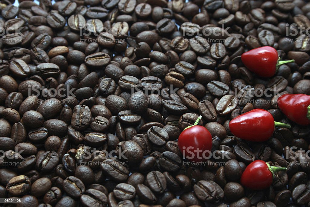 Coffee with a pepper royalty-free stock photo