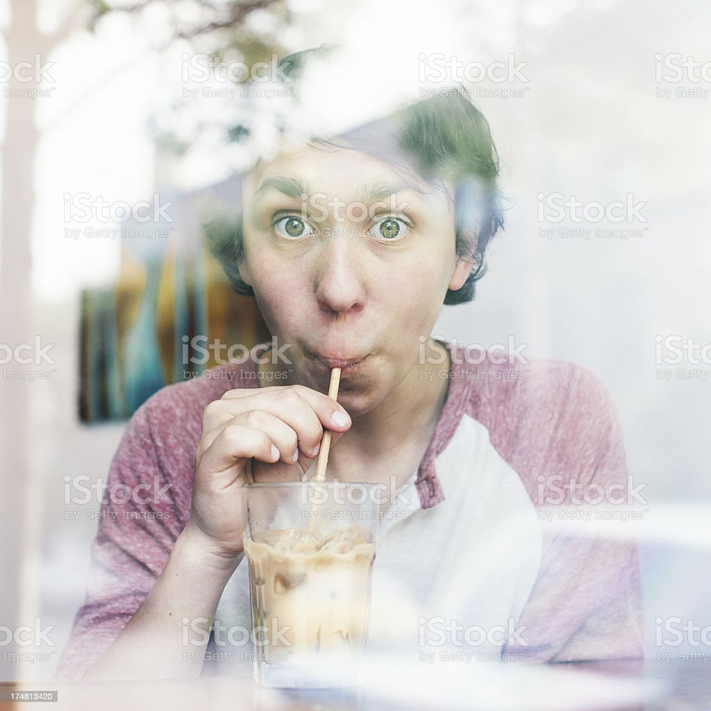 Coffee With a Straw stock photo