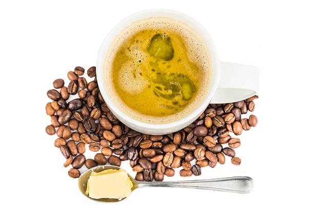 kaffee mit zusätzlichen butter - paleo kuchen stock-fotos und bilder