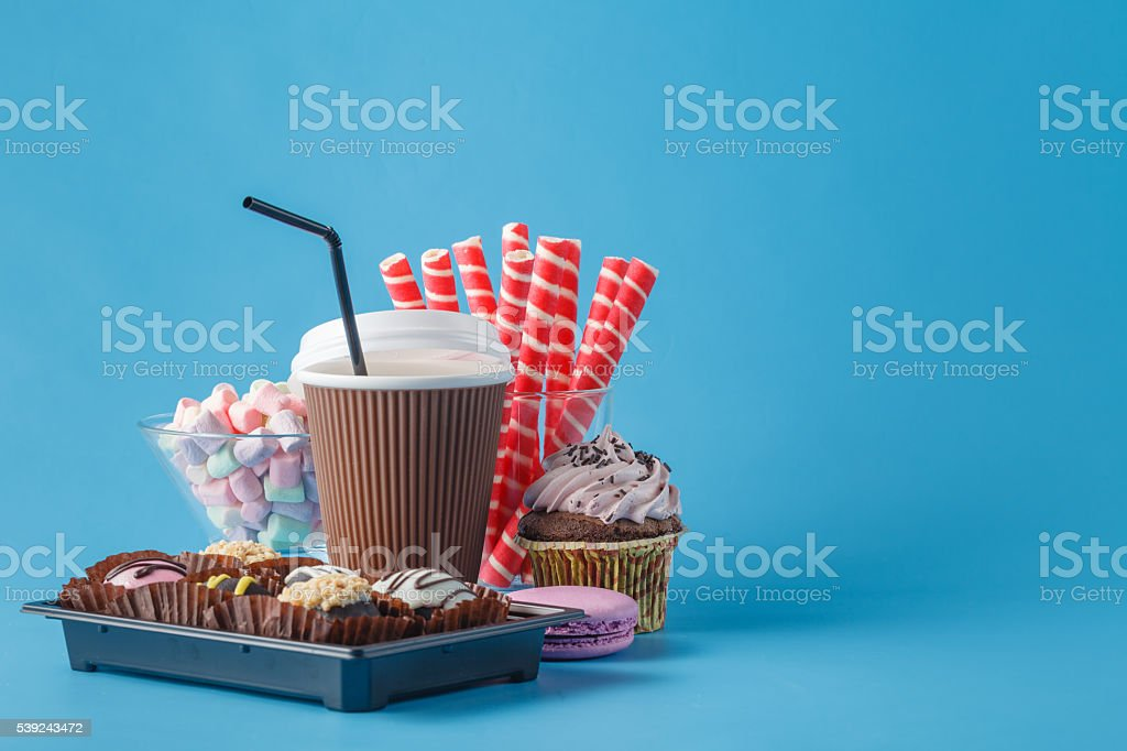 Coffee with cake served royalty-free stock photo