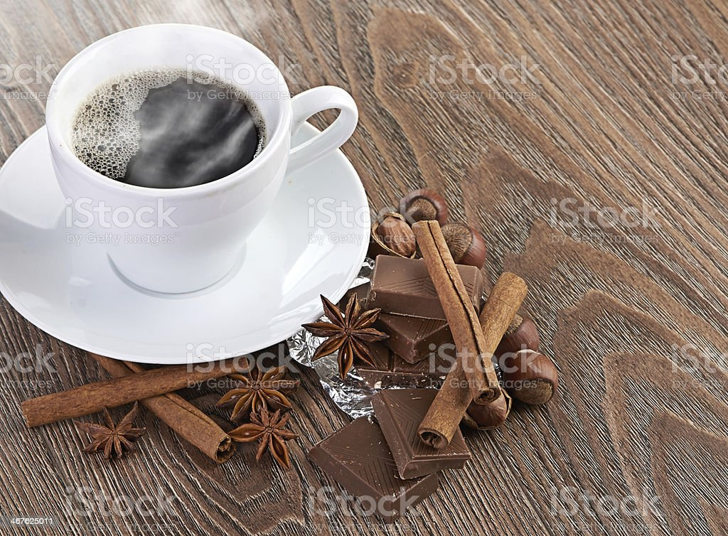coffee with chocolate and dry breakfast stock photo