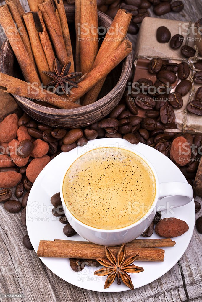coffee with Chocolate bar and spices royalty-free stock photo