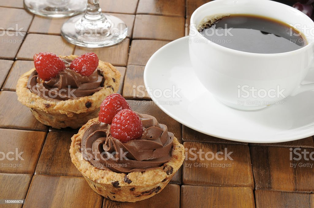 Coffee with chocolate mousse dessert cups royalty-free stock photo