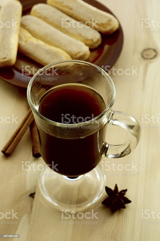 Coffee with cinnamon and beans royalty-free stock photo