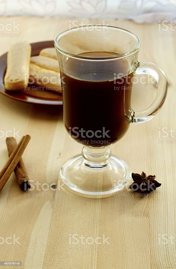 Coffee with cinnamon and cookies royalty-free stock photo
