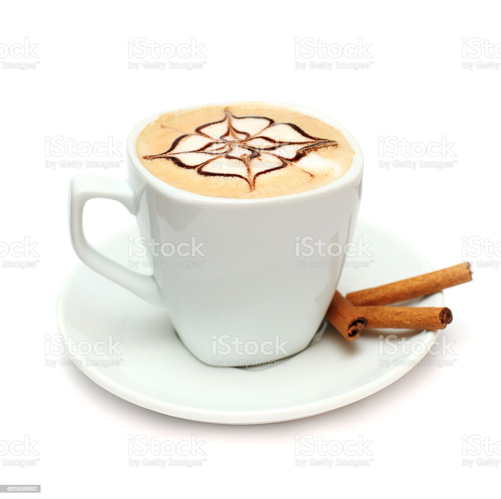 Coffee with cinnamon isolated on white foto stock royalty-free