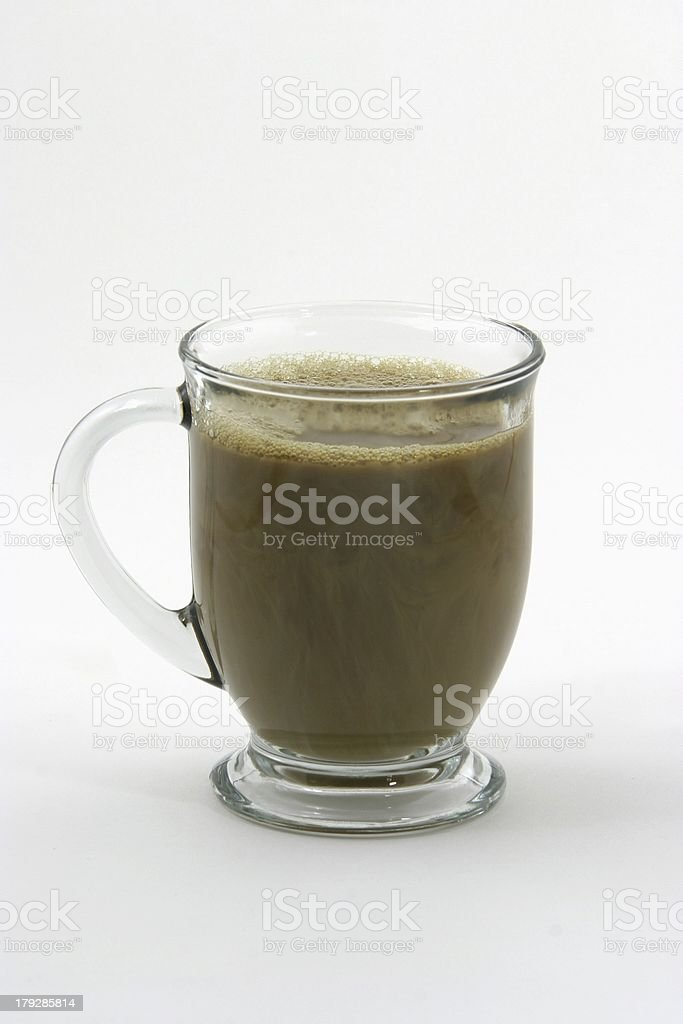 Coffee With Cream in a Clear Glass Cup stock photo