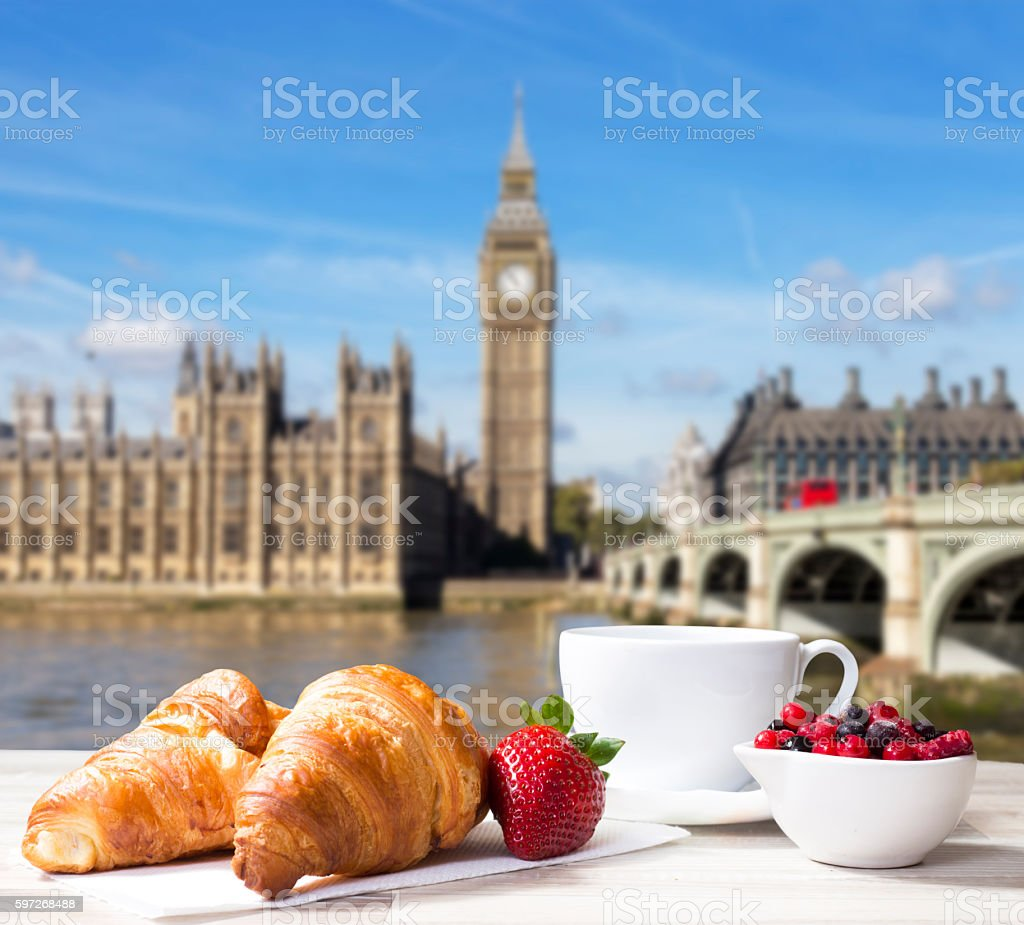 Coffee with croissants against London view royalty-free stock photo