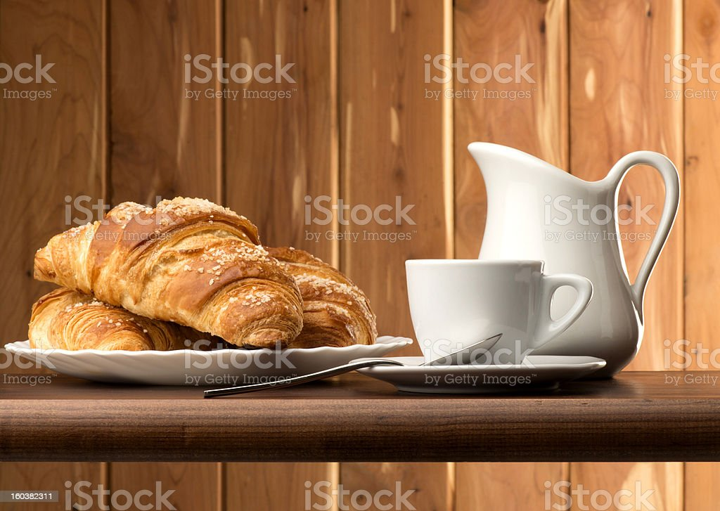 coffee with croissants royalty-free stock photo