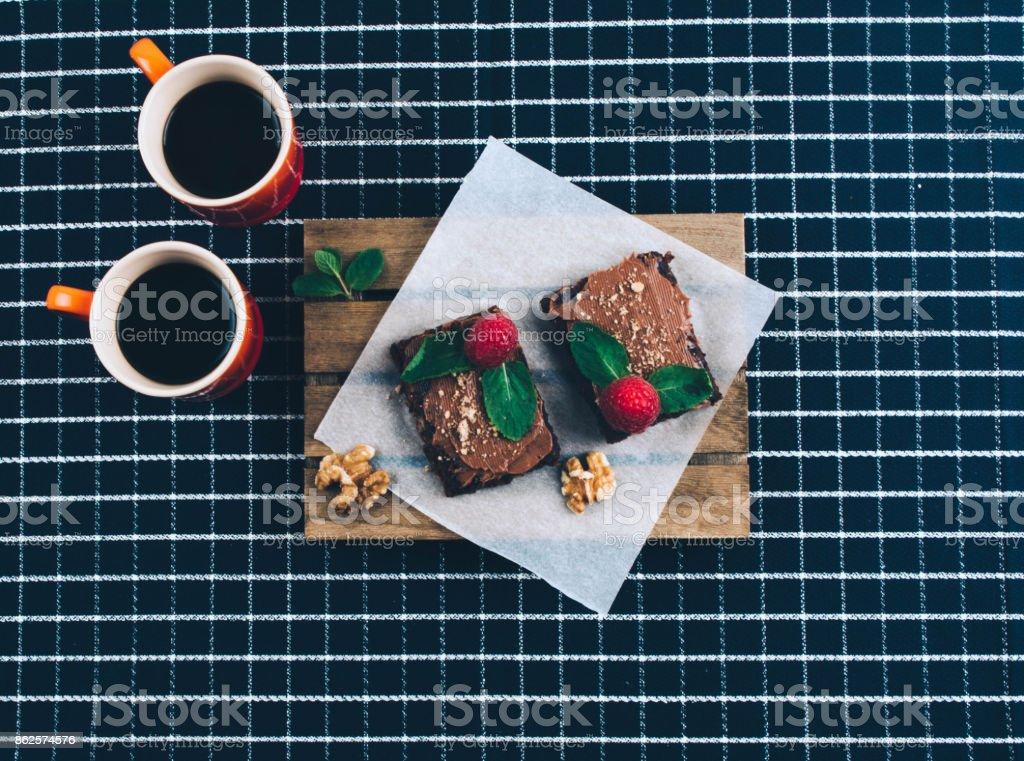 Coffee with homemade vegan brownies. stock photo
