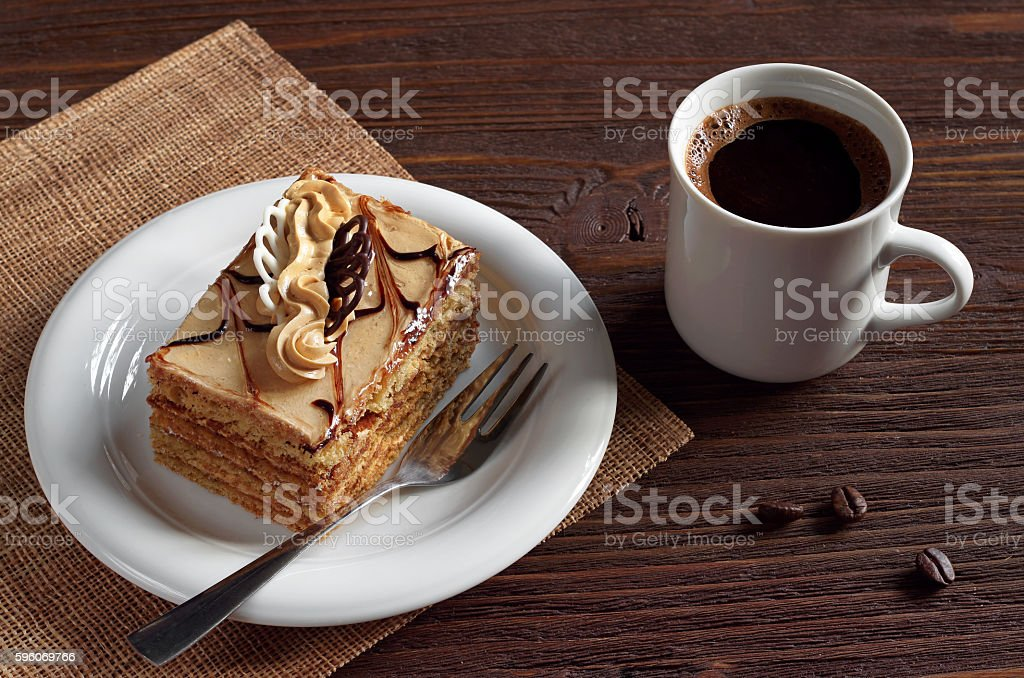 Coffee with honey cake royalty-free stock photo