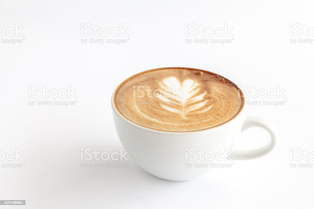 coffee with latte art on white background stock photo