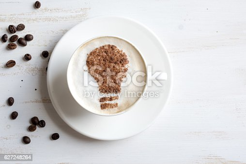 istock Coffee with lightbulb made of cinnamon. Brain storm 627248264