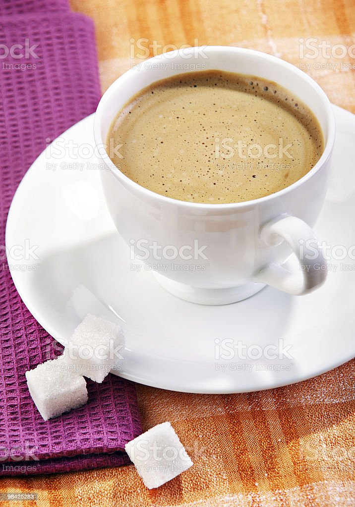 Coffee with sugar cube royalty-free stock photo