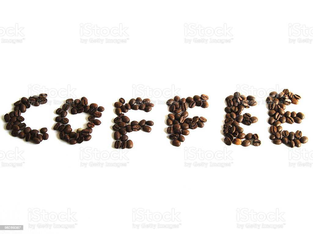 Coffee written in beans royalty-free stock photo