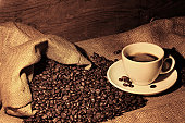 istock Coffeebeans and Coffee Antique Style 124014359