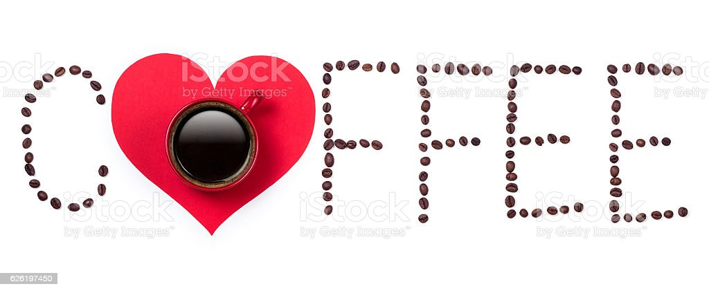 Coffeebeans text and red coffee cup with heart on white stock photo